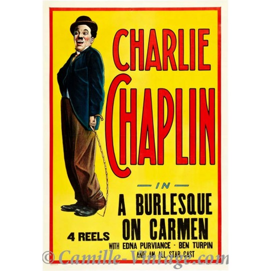 Poster Vintage Charlie Chaplin Burlesque
