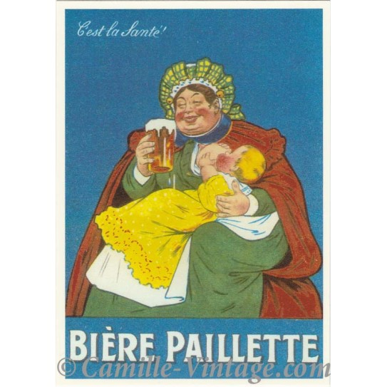 """Postcard Bière Paillette """"C'est la Santé"""""""