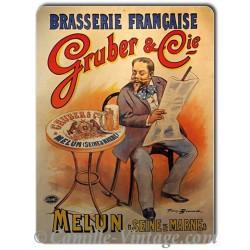 Plaque métal vintage Brasserie de Melun Gruber&Cie