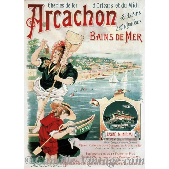 ancienne affiche poster publicit bassin arcachon bains de mer impression nouvelle aquitaine. Black Bedroom Furniture Sets. Home Design Ideas