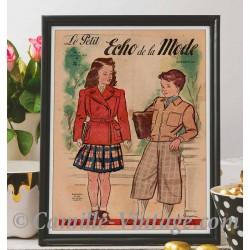 Poster Vintage Le Petit Echo de La Mode 7 Septembre 1947