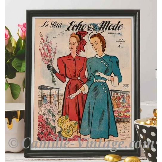 Affiche Le Petit Echo de La Mode 16 mars 1947