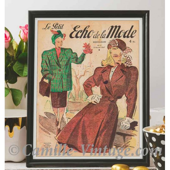 Poster Vintage Le Petit Echo de La Mode 2 février 1947