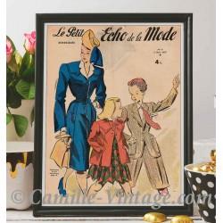Poster Vintage Le Petit Echo de La Mode 2 mars 1947