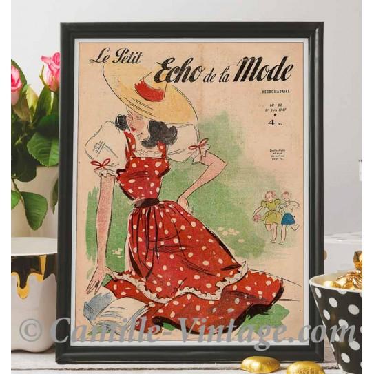 Poster Vintage Le Petit Echo de La Mode 1er Juin 1947
