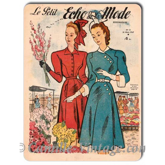 Plaque Aluminium Le Petit Echo de La Mode 16 mars 1947