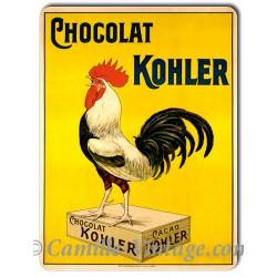 Plaque metal Coq Chocolat Kohler