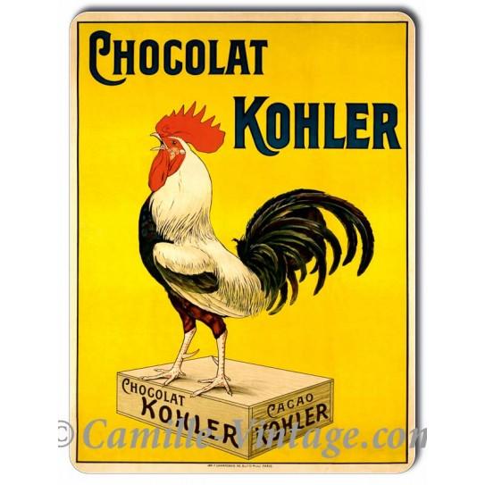 Plaque aluminium Coq Chocolat Kohler
