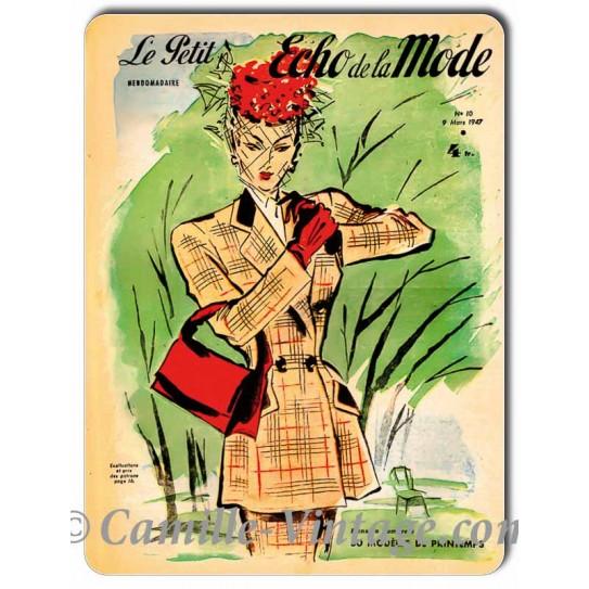 Plaque Aluminium Le Petit Echo de La Mode 9 mars1947