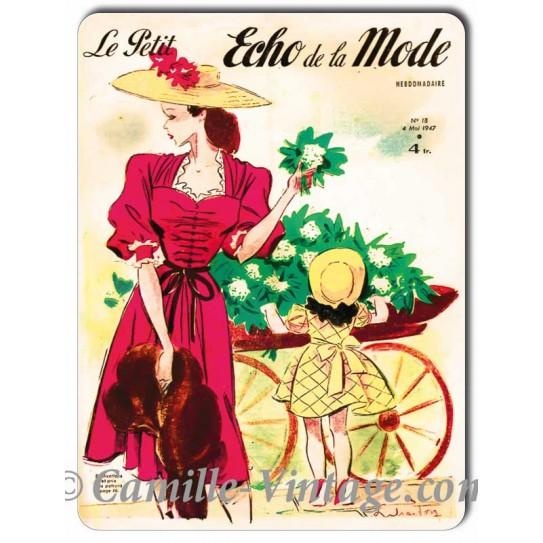 Aluminium plate Le Petit Echo de La Mode 4 May 1947