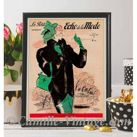 Poster Vintage Le Petit Echo de La Mode 19 Janvier 1947