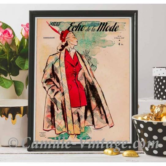 Poster Vintage Le Petit Echo de La Mode 9 février 1947