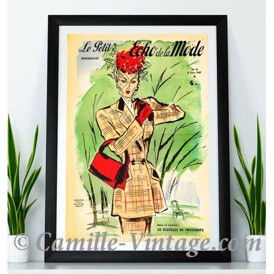 Poster Vintage Le Petit Echo de La Mode 9 mars 1947