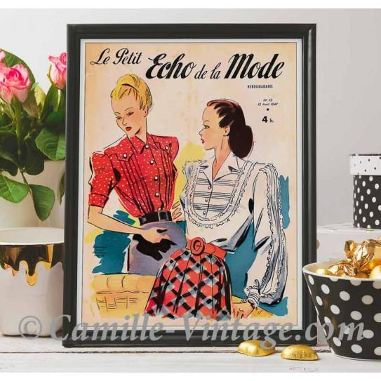 Poster Vintage Le Petit Echo de La Mode 13 avril 1947