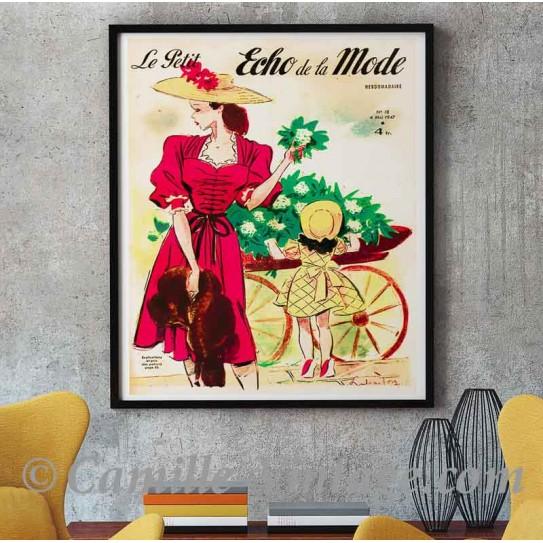 Poster Vintage Le Petit Echo de La Mode 4 mai 1947