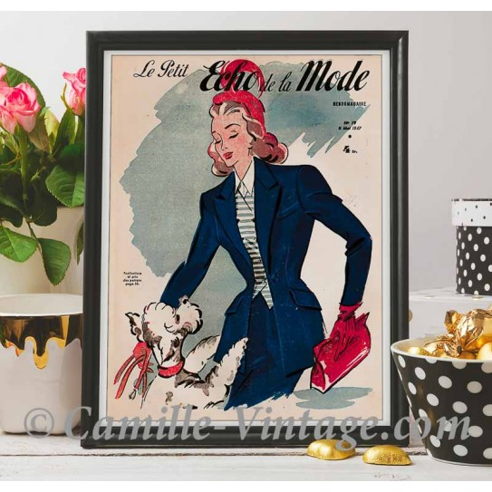Poster Vintage Le Petit Echo de La Mode 11 mai 1947