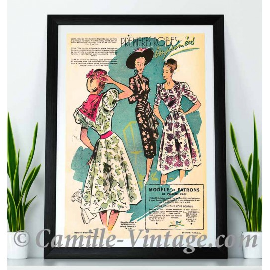 Poster Vintage the first dresses 1947