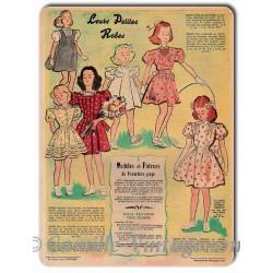 """Plaque Aluminium Le Petit Echo de La Mode 25 mai 1947 """"Leurs Petites Robes"""""""