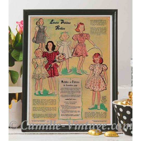 """Affiche Le Petit Echo de La Mode 25 mai 1947 """"Leurs Petites Robes"""""""