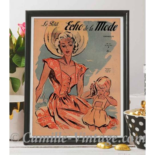 Poster Vintage Le Petit Echo de La Mode 8 June 1947