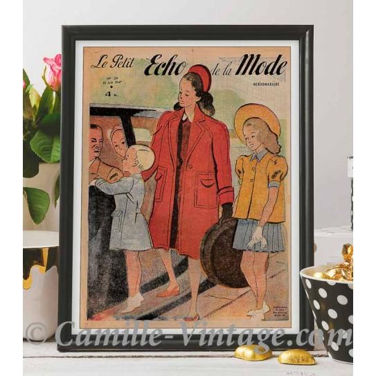 Poster Vintage Le Petit Echo de La Mode 15 June 1947