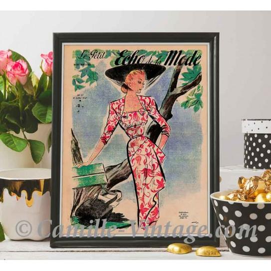 Poster Vintage Le Petit Echo de La Mode 6 July 1947