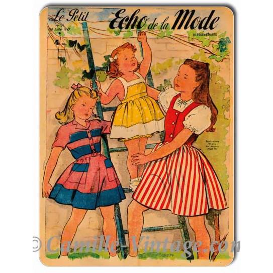 Metal plate deco Le Petit Echo de La Mode 6 July 1947