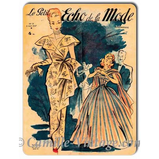 Plaque métal déco Le Petit Echo de La Mode 3 août 1947