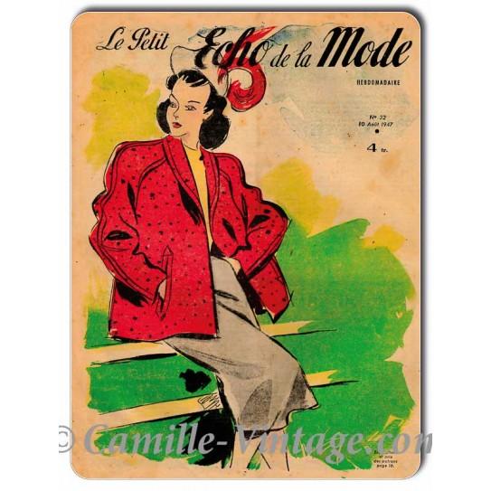 Plaque métal couverture Le Petit Echo de La Mode 10 août 1947
