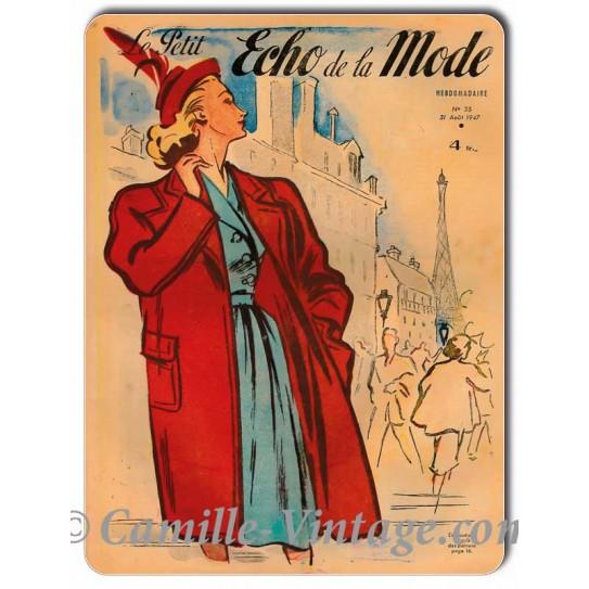 Metal plate deco Le Petit Echo de La Mode 31 August 1947