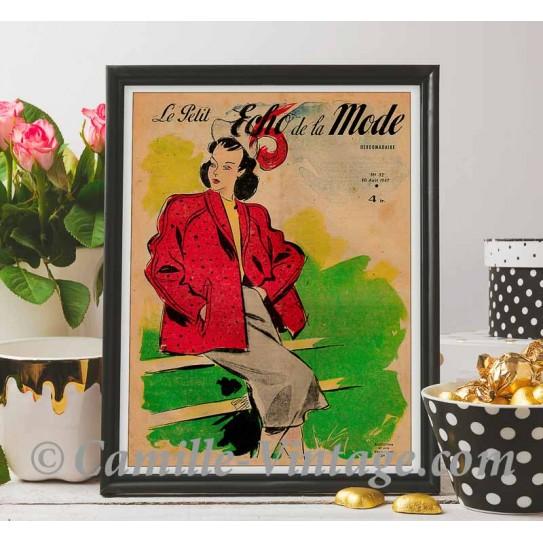 Poster Vintage Le Petit Echo de La Mode 10 August 1947