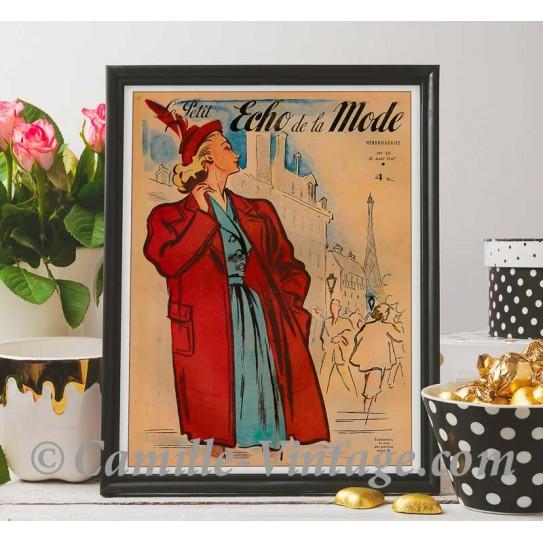 Poster Vintage Le Petit Echo de La Mode 31 August 1947