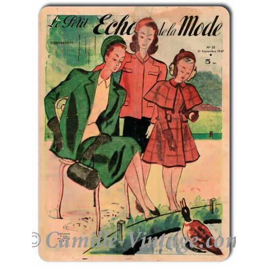 Metal plate deco Le Petit Echo de La Mode 21 September 1947