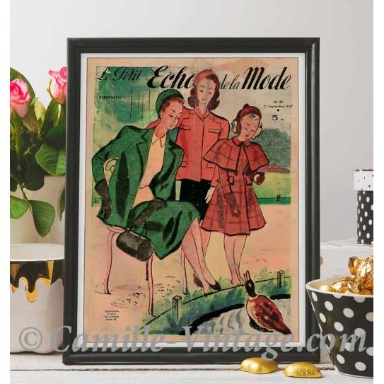 Poster Vintage Le Petit Echo de La Mode 21 September 1947