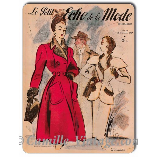 Metal plate deco Le Petit Echo de La Mode 28 September 1947