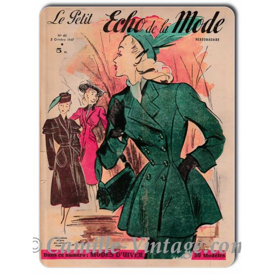 Metal plate deco Le Petit Echo de La Mode 5 October 1947