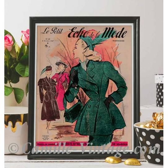 Poster Vintage Le Petit Echo de La Mode 5 October 1947