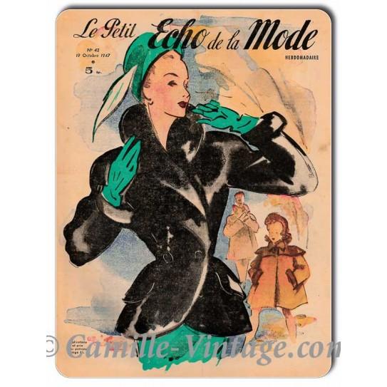 Plaque métal Le Petit Echo de La Mode 19 octobre 1947
