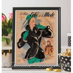 Affiche Le Petit Echo de La Mode 19 octobre 1947