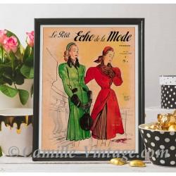 Poster Vintage Le Petit Echo de La Mode 9 November 1947