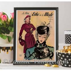 Poster Vintage Le Petit Echo de La Mode 16 November 1947