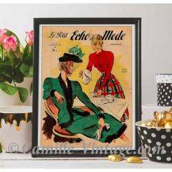 Poster Vintage Le Petit Echo de La Mode 23 November 1947