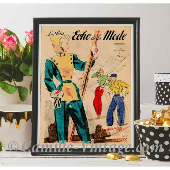 Poster Vintage Le Petit Echo de La Mode 7 December 1947