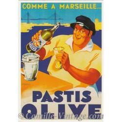 Postcard Pastis Olive