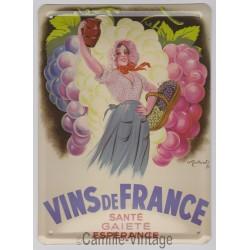 Plaque métal Vins de France