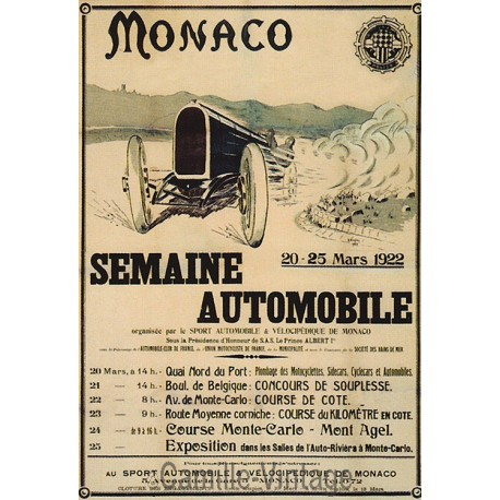 Carte Postale Monaco semaine Automobile 1922