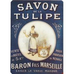 Plaque métal Savon de La Tulipe