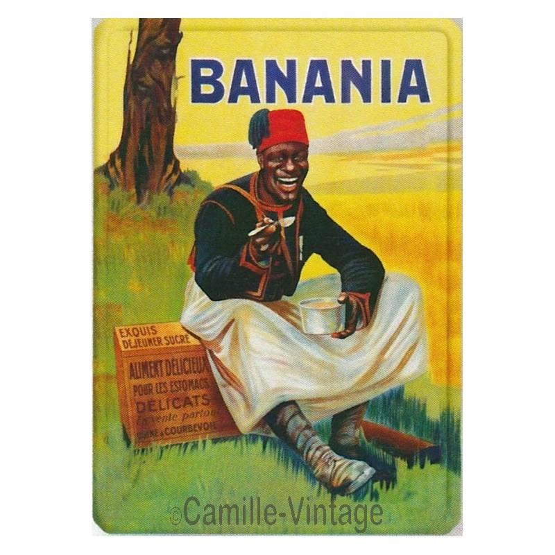 plaque m tal ancienne publicit vintage banania tirailleur editions clouet. Black Bedroom Furniture Sets. Home Design Ideas