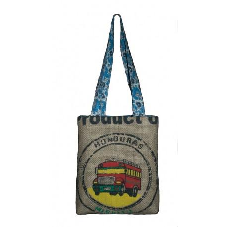 142475e7f3 Sac à main en toile de jute de café recyclé du Honduras tissu rétro ...