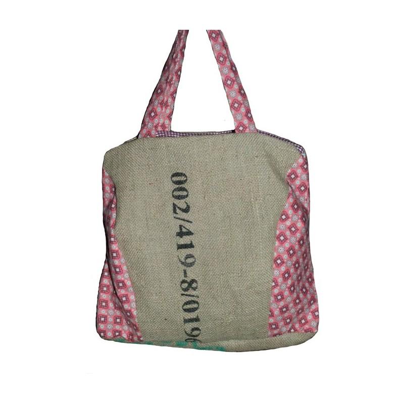 sac main en toile de jute de caf recycl du honduras tissu r tro vintage fabrication. Black Bedroom Furniture Sets. Home Design Ideas
